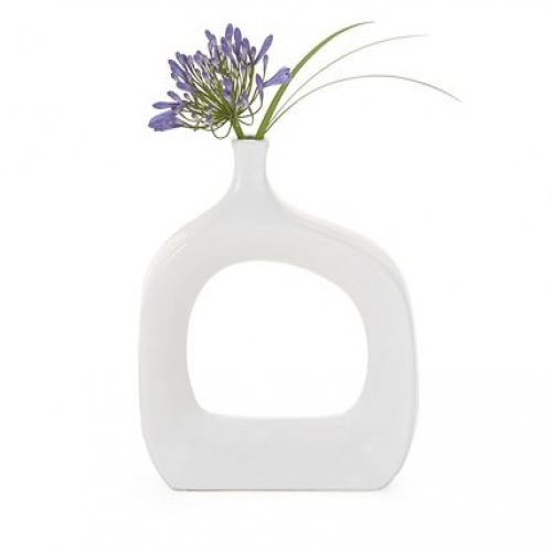 White Ceramic Vase Short