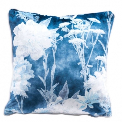 Velvet Pillow Blue and White