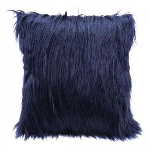 Faux Fur Pillow Navy Blue